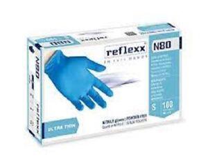 100 Guanti In Nitrile Reflexx N80  BLU Misure  S  M L XL monouso BLUE BLU