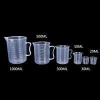 20/30/50/300/500/1000ML Plastic Measuring Cup Jug Pour Spout Surface Kitchen ~!