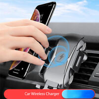 Qi Fast Wireless Charger Car SUV Mount Phone Holder Bracket For iPhone XR XS 8
