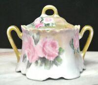 Vintage Z S & Co BAVARIA Sugar Bowl Blue/Gold Pink Roses Signed