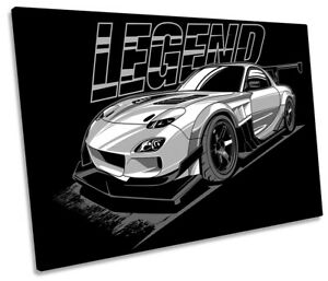 Mazda RX7 TRMNL Car Picture SINGLE CANVAS WALL ART Print Black