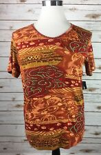 Requirements Pullover Shirt Womens Lg Reds/Multi S/S Sequins Geo Cotton NEW