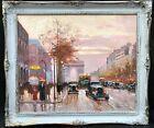 1950s French Impressionist Oil Painting of Paris Champs-Élysées - Edouard CORTES