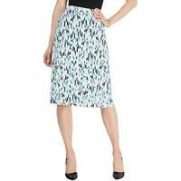 Kasper Womens Petites Printed Midi A-Line Skirt Blue L
