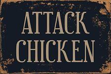 "Attack Chicken 8"" x 12"" Vintage Aluminum Retro Metal Sign VS457"