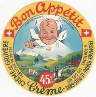 Vintage Bon Appetit Swiss Creme de Gruyere Cheese Label Dairy Food Switzerland