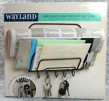 "Metal Letter Key Holder Black Wall Mount Wayland Square hooks NEW 8""x8"" organize"