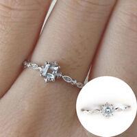 Crystal Blue Dainty Finger Ring Women Simple Style Wedding Ring Charm Gifts New