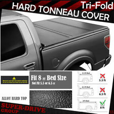 Lock Tri-Fold HARD Solid Tonneau COVERS For 2009-2014 FORD F-150 8' ft LONG Bed