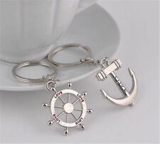 key chain Ring keychain Fashion Metal couples lovers Anchor rudder love Hot New