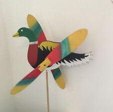 Wooden Windmill Duck Wind Spinner Whirligig Folk Art Hand Painted