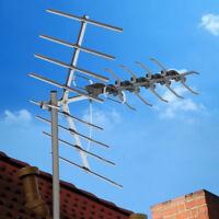 200 Mile Outdoor TV Antenna Satellite Amplified HDTV UHF Digital Signal + Pole