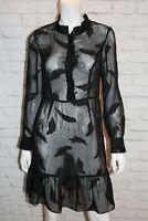 BASQUE Brand Black Chiffon Long Sleeve Day Dress Size 10 BNWT #SE05