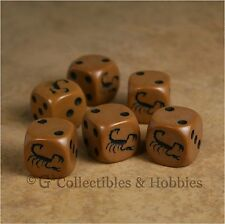NEW Set of 6 Scorpion Game Dice Six Sided Animal Bunco D&D RPG