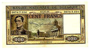 BELGIUM ... P-126 ... 100 FRANCS ... (03.07.1948) ... *VF/XF*