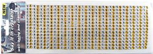 504 6mm Stick-On Yellow and Clear Crafting Crystals Diamante Rhinestone Sequins