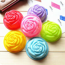 7006 8cm Rose Flower Shape Silicone Cupcake Bake Mousse Jelly Chocolate Mold