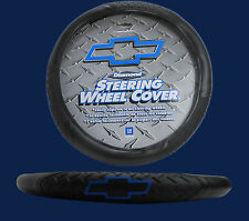 Chevrolet Chevy Blue Diamond Grip Black Steering Wheel Cover Fast Shipping