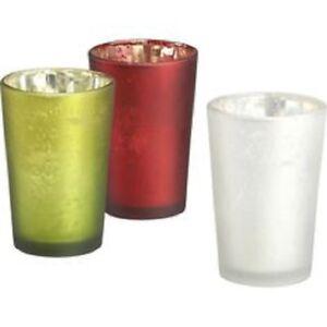NEW Set of 3 Crate & Barrel Mercury Glass Splendid Votive Candle Holders Green