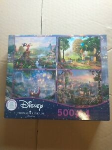 COMPLETE Thomas Kinkade Disney Collection 4 IN 1 Jigsaw Puzzle Set 500 Pieces