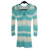 Victoria Secret Beach Coverup Hooded Ribbon Crochet Aqua Stripe Women's XS