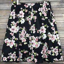 ABS by Allan Schwartz Black Floral Print Circle Below Knee Skirt Size XL New NWT