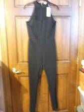 NWT ~ NICKI MINAJ black jumpsuit skinny legs net insert gold zipper ~ womens M