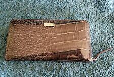 KATE SPADE Black Patent Leather Lizard/Reptile Accordion Zip Wallet Clutch