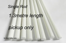 One Fibreglass Rod, 1.3metre length. 8mm dia. White. PICK-UP ONLY