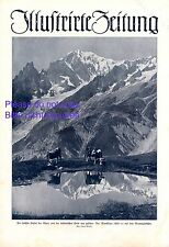 Montblanc in the Alps XL 1924 newspaper frontpage & photo illustration glacier