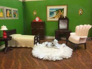 Vintage Renwal Bedroom Furniture Miniature Dollhouse Lot 7 Piece Set Bed Dresser