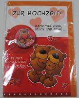 Glückwunschkarte - Zur Hochzeit - mit Button - Bärenbande - mit Umschlag - NEU