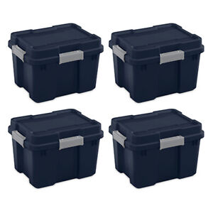 Sterilite 20 Gallon Gasket Tote Storage Container Box & Lid, Blue/Gray (4 Pack)