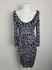 GUESS Crossover Open Back Long Sleeve Knit Dress Women's Size L Animal Bodycon