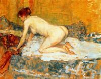 A Painting Of A Woman - Crouching Woman Red Hair - Top Quality Canvas Print