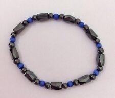 Hematite High Power Magnetic Stretch Bracelet Blue Black Beads Rheumatism Male
