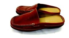 """BASS WOMENS RED LEATHER LOW BACK LOAFERS 1"""" HEELS SIZE 5.5 M US"""