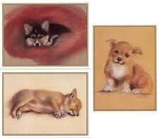 3 Vintage Tasha Tudor Corgi Dog Puppy Greeting Cards w Envelopes MINT condition