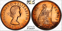 1970 GREAT BRITAIN ONE PENNY PCGS PR64RD COLOR TONED COIN IN HIGH GRADE
