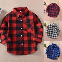 Kids Casual Cotton Plaid Check Shirts Long Sleeve Pocket Blouse Tops Boys Girls