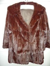 "Ladies chestnut brown real soft & glossy fur coat bust 42"" Size 14 length 31"""
