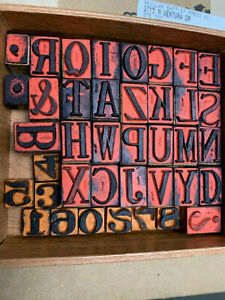 Wood block stamping letters, complete alphabet and numbers 0-9.