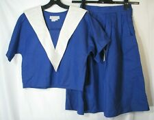 Nwt Vtg Trifles Sailor Dress Skirt Top Suit Royal Blue White Collar Tennis Sz 4
