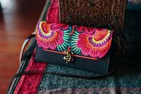 Flower Hmong Embroidered Crossbody Wallet/Purse in Red, Boho Wallet for Woman