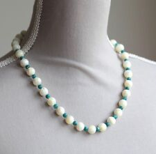"""CREAM & BLUE MOTHER OF PEARL NECKLACE 20"""" WITH EARRING SET"""