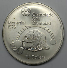 1975 CANADA $10 WOMEN'S SHOT PUT MONTREAL OLYMPICS COMMEMORATIVE SILVER COIN DBW