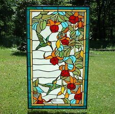 """20"""" x 34"""" Large Tiffany Style stained glass window panel Hummingbirds & Flower"""
