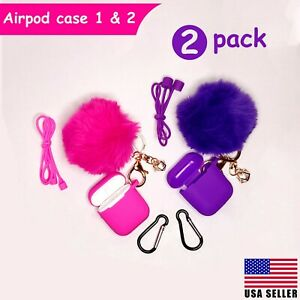 Airpods Case Silicone Cute Cover Fur Ball Keychain Strap for Airpods 1/2 - 2Pack