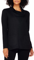 LOGO Lounge by Lori Goldstein Black French Terry Cowl Neck Top with Pockets L