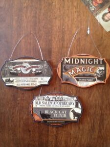 Bethany Lowe Halloween Apothecary Sign Ornaments--Set Of 3–Retired